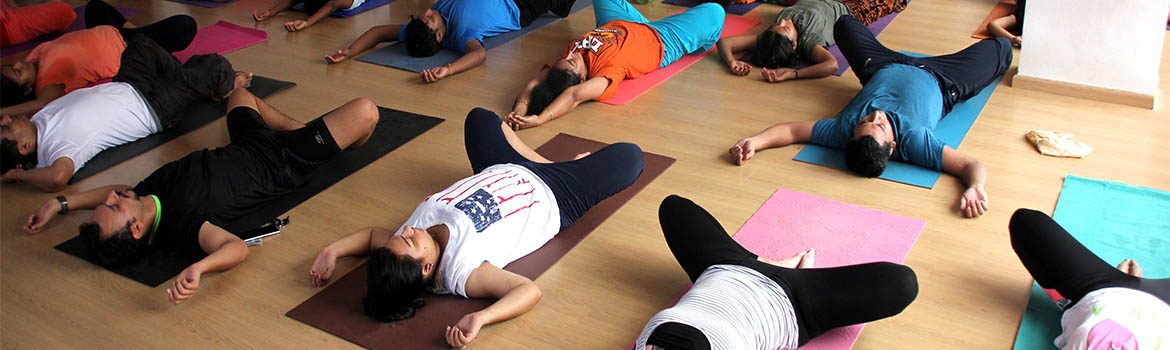 Group of yogi in yin yoga asana